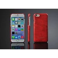 Дизайнерский кожаный чехол накладка с отделениями для карт на Iphone 6 Plus Красный