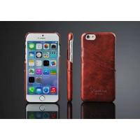Дизайнерский кожаный чехол накладка с отделениями для карт на Iphone 6 Plus Коричневый