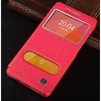 Кожаный чехол флип подставка на пластиковой основе с окном вызова и свайпом для Xiaomi Mi4 Красный