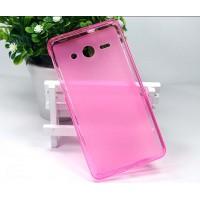 Полупрозрачный силиконовый чехол для Sony Xperia M Розовый