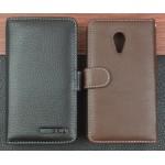 Кожаный чехол портмоне (нат. кожа) с крепежной застежкой для Meizu MX4