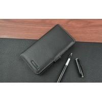 Кожаный чехол портмоне (нат. кожа) с крепежной застежкой для Meizu MX4 Черный