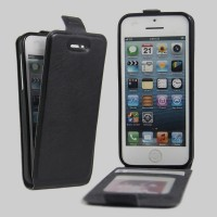 Чехол вертикальная книжка на силиконовой основе с отсеком для карт на магнитной защелке для Iphone 5s Черный