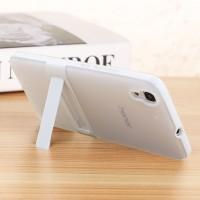 Двухкомпонентный силиконовый чехол с пластиковым бампером-подставкой для Huawei Y6 Белый
