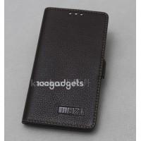 Кожаный чехол горизонтальная книжка (нат. кожа) на пластиковой основе для Meizu MX4 Черный