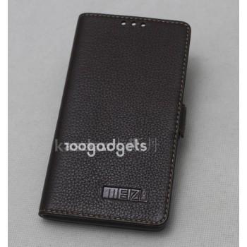 Кожаный чехол горизонтальная книжка (нат. кожа) на пластиковой основе для Meizu MX4