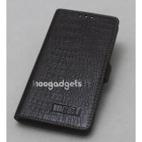 Кожаный чехол горизонтальная книжка (нат. кожа) крокодил на пластиковой основе для Meizu MX4 Коричневый