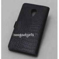 Кожаный чехол горизонтальная книжка (нат. кожа) крокодил на пластиковой основе для Meizu MX4 Черный