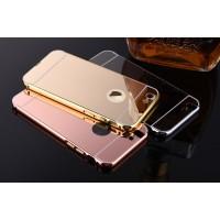 Двухкомпонентный чехол c металлическим бампером с поликарбонатной накладкой и зеркальным покрытием для Iphone 5s