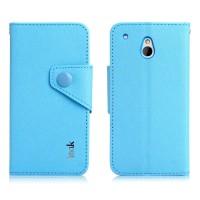 Чехол портмоне с кнопочной застежкой для HTC One Mini Голубой