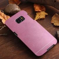 Пластиковый непрозрачный матовый чехол с текстурным покрытием Металл для Samsung Galaxy S7 Edge Розовый