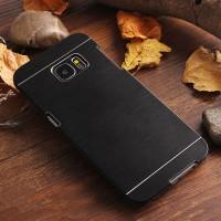 Пластиковый непрозрачный матовый чехол с текстурным покрытием Металл для Samsung Galaxy S7 Edge Черный