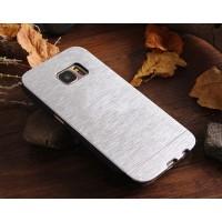 Пластиковый непрозрачный матовый чехол с текстурным покрытием Металл для Samsung Galaxy S7 Edge Белый