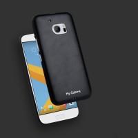 Силиконовый матовый непрозрачный дизайнерский фигурный чехол с текстурным покрытием Кожа для HTC 10 Черный