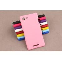 Пластиковый матовый непрозрачный чехол для Sony Xperia E3 dual Розовый