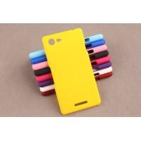 Пластиковый матовый непрозрачный чехол для Sony Xperia E3 dual Желтый