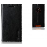 Кожаный чехол флип с отделениями на присосках для Nokia Lumia 830 Черный