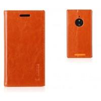 Кожаный чехол флип с отделениями на присосках для Nokia Lumia 830 Коричневый