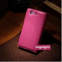 Чехол портмоне подставка с защелкой для Sony Xperia Z3 Compact Пурпурный