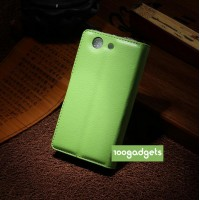 Чехол портмоне подставка с защелкой для Sony Xperia Z3 Compact Зеленый