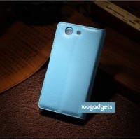 Чехол портмоне подставка с защелкой для Sony Xperia Z3 Compact Голубой