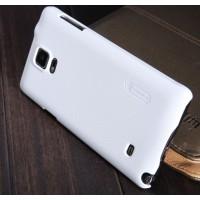 Пластиковый матовый нескользящий премиум чехол для Samsung Galaxy Note 4 Белый
