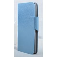 Текстурный чехол флип подставка с застежкой и внутренними карманами для Alcatel One Touch Idol 2 S Голубой