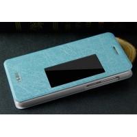 Текстурный чехол флип с активным окном вызова Huawei Honor 6 Голубой