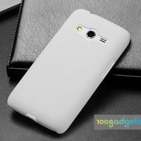 Пластиковый матовый чехол серия Metallic для Samsung Galaxy Ace 4 Белый