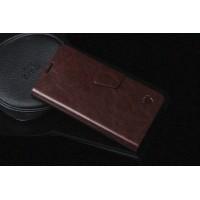 Чехолфлип подставка на пластиковой основе с магнитной защелкой для Lenovo A536 Ideaphone Коричневый