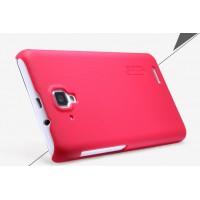 Пластиковый матовый нескользящий премиум чехол для Lenovo A536 Ideaphone Красный
