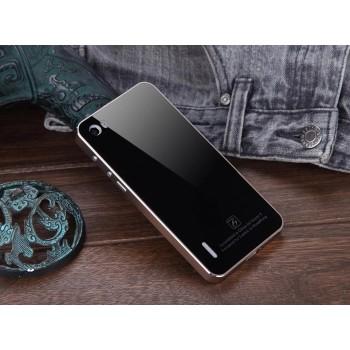 Двухкомпонентный чехол металлический бампер/накладка из закаленного стекла для Huawei Honor 6