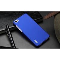 Пластиковый матовый непрозрачный чехол для Huawei Honor 6 Синий