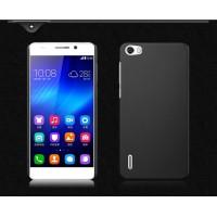Пластиковый матовый непрозрачный чехол для Huawei Honor 6 Черный