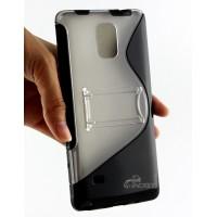 Силиконовый полупрозрачный S чехол подставка для Samsung Galaxy Note 4