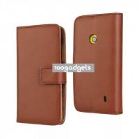 Чехол портмоне подставка с защелкой для Nokia Lumia 520 Коричневый