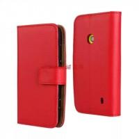 Чехол портмоне подставка с защелкой для Nokia Lumia 520 Красный