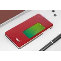 Чехол смарт флип на присосках и полупрозрачным основанием для Huawei Honor 6 Красный