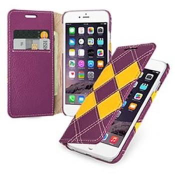 Кожаный чехол портмоне (нат. кожа) с кожаными вставками ручной работы для Iphone 6