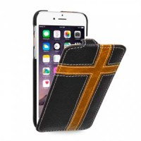 Кожаный чехол книжка (нат. кожа) с фигурными кожаными вставками ручной работы для Iphone 6