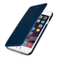 Кожаный чехол горизонтальная книжка (нат. кожа с вощеным покрытием) для Iphone 6 Синий