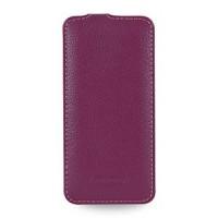 Кожаный чехол вертикальная книжка (нат. кожа) для Iphone 6 Фиолетовый