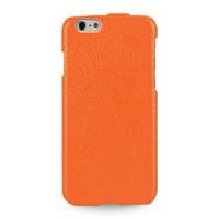 Кожаный чехол вертикальная книжка (нат. кожа) для Iphone 6 Оранжевый