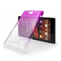 Градиентный чехол эффект дождя для Sony Xperia C Розовый