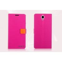 Текстурный чехол флип с дизайнерской застежкой для Alcatel One Touch Idol X+ Пурпурный