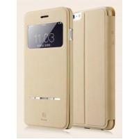 Чехол флип на пластиковой основе с окном вызова и сенсорной полоской принятия вызова для Iphone 6 Plus Бежевый