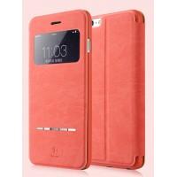 Чехол флип на пластиковой основе с окном вызова и сенсорной полоской принятия вызова для Iphone 6 Plus Красный