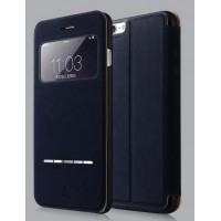 Чехол флип на пластиковой основе с окном вызова и сенсорной полоской принятия вызова для Iphone 6 Plus Синий