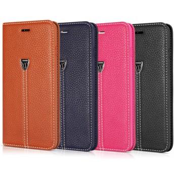 Кожаный чехол флип подставка (нат. кожа) на силиконовой основе с усиленной экзопрошивкой для Iphone 6 Plus