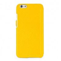Кожаный чехол горизонтальная книжка (нат. кожа) с защелкой для Iphone 6 Желтый